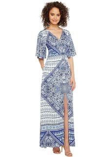 Beach Belle Rayon Stretch Satin Woven Maxi Dress