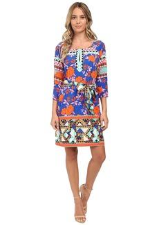 Hale Bob Bold Blooms 3/4 Sleeve Shift Dress