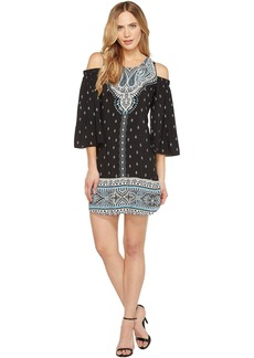 Hale Bob Catch Heat Rayon Woven Cold Shoulder Long Sleeve Dress