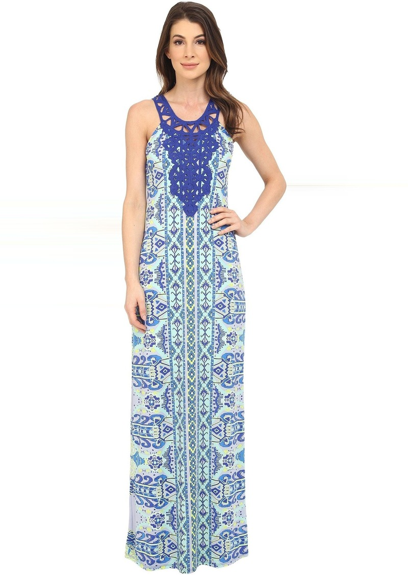 Hale Bob Eye Candy Maxi Dress w/ Crochet Neckline