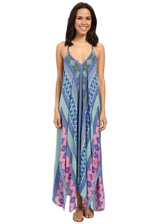 Hale Bob Hide and Go Chic Maxi Dress with Handkerchief Hem Detail
