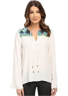 Hale Bob Hot & Heavy In Havana Embroidered Blouse