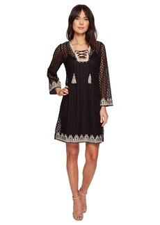 Hale Bob Line in the Sand Knit Crochet Lace-Up Dress