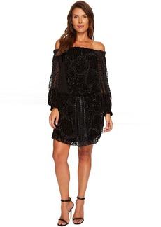 Hale Bob Masterpiece Theatre Silk Velvet Burnout Off Shoulder Dress
