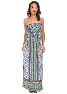 Hale Bob Native Tones Tube Top Maxi w/ Smocked Hip Band