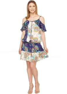 Sonic Bloom Rayon Stretch Satin Woven Cold Shoulder Dress