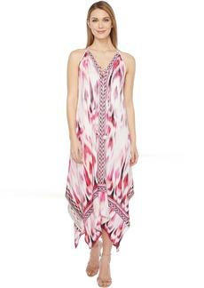 Hale Bob Sun Streaked Rayon Stretch Satin Maxi Dress