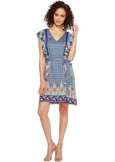 Hale Bob Sunshine Daze Stretch Rayon Satin Woven Dress