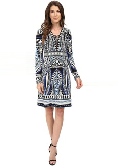 Hale Bob The Bold and the Beautiful Long Sleeve Dress with Lace-Up Detail