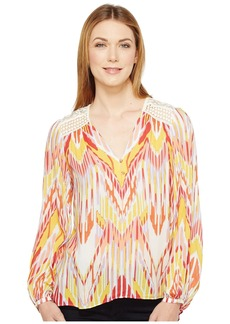 Hale Bob Lens Flair Lightweight Rayon Dot Woven Long Sleeve Top