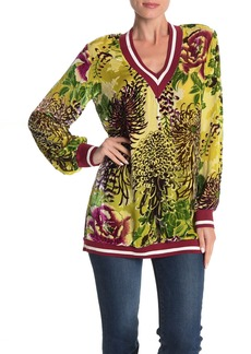 Hale Bob Long Sleeve Silk Blend Velvet Floral Applique Sweater