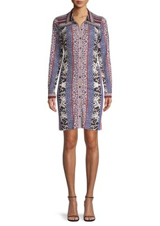 Hale Bob Mixed-Print Long-Sleeve Shirtdress