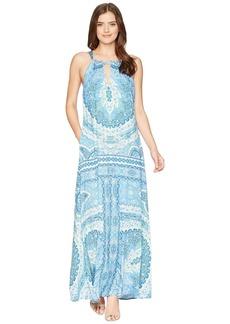 Hale Bob Modern Mosaic Stretch Satin Maxi Dress