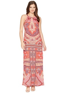 Hale Bob Modern Mosaic Stretch Satin Maxi Dress