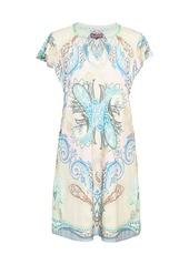 Hale Bob Paisley Flutter-Sleeve Shift Dress