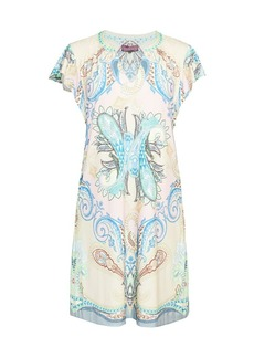 Hale Bob Paisley Flutter-Sleeve Shift Dress