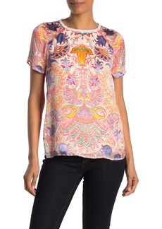 Hale Bob Paisley Satin Burnout Short Sleeve Top