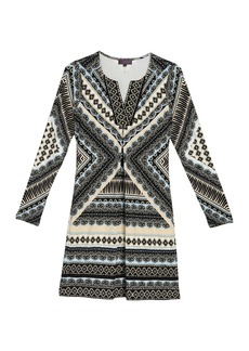 Hale Bob Patterned Beaded Trim Split Neck Dress