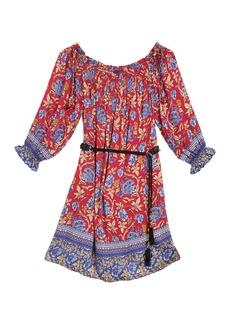 Hale Bob Patterned Off-the-Shoulder Belted Dress