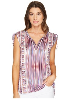 Hale Bob Pretty Brilliant Rayon Satin Woven Top with Ties