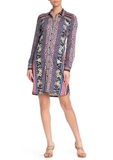 Hale Bob Printed Button Front Shirt Dress