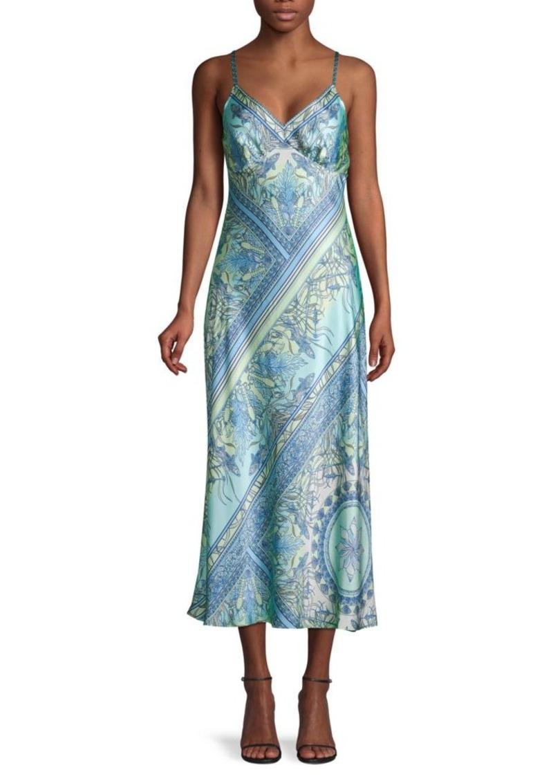 Hale Bob Printed Silk Slip Dress