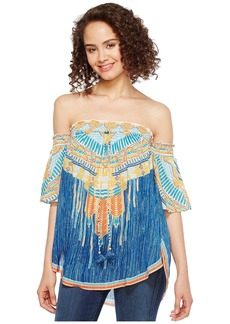 Hale Bob Summer Spirit Tayon Dot Woven Smocked Off Shoulder Top