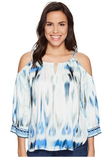 Hale Bob Sun Streaked Rayon Stretch Satin Cold Shoulder Top