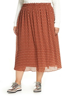 Halogen Crinkle Midi Skirt (Plus Size)