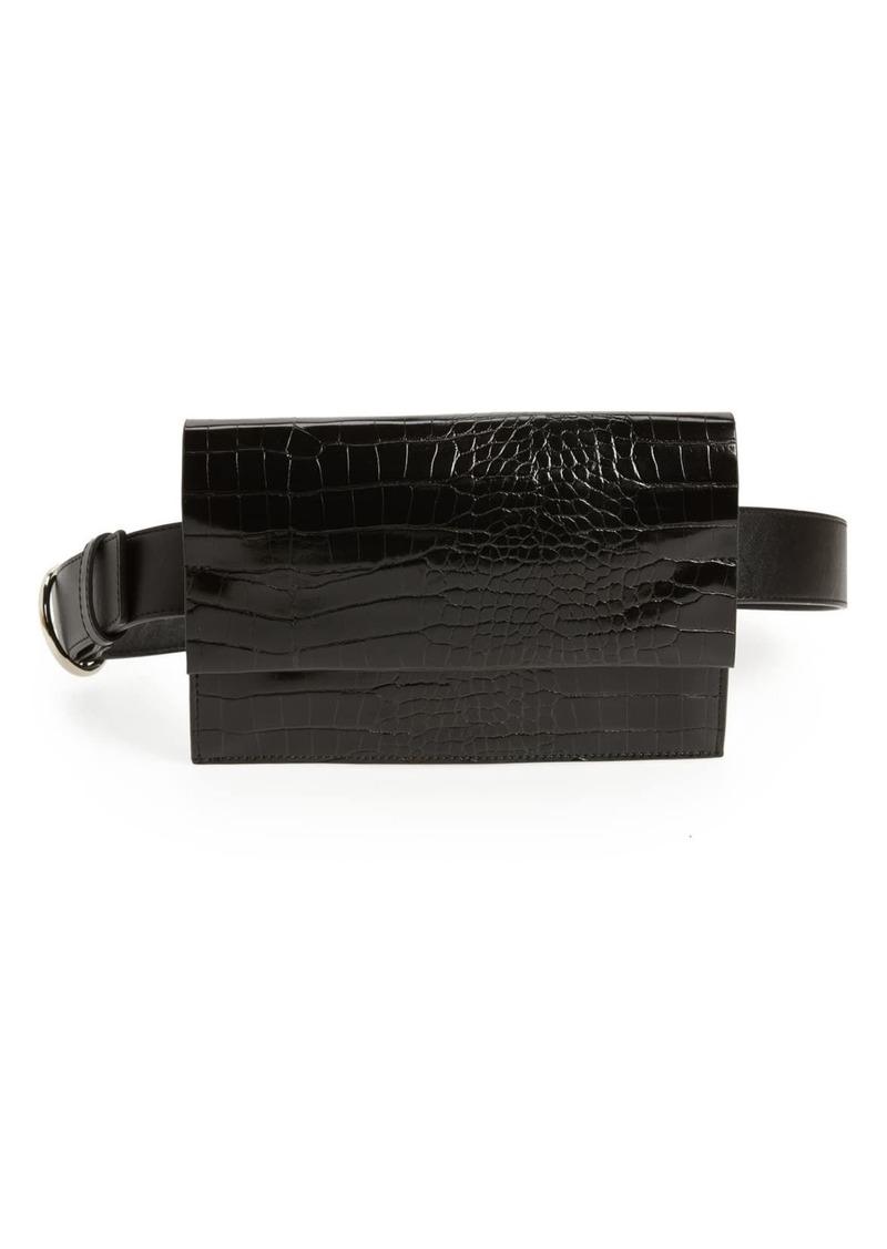 Halogen Croc Embossed Faux Leather Belt Bag