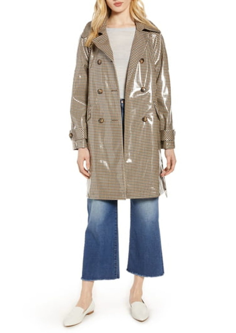 Halogen Water Resistant Coated Plaid Trench Coat