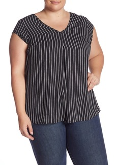 Halogen Double V-Neck Woven Top (Plus Size)