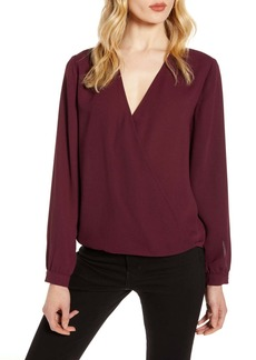 Halogen(R) Faux Wrap Blouse