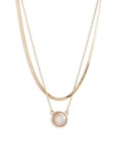 Halogen® 2-Tier Iridescent Pendant Necklace