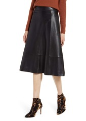 Halogen® A-Line Leather Midi Skirt