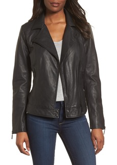 Halogen® Asymmetrical Leather Jacket