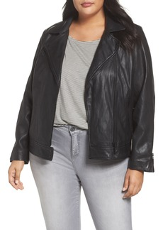 Halogen® Asymmetrical Leather Jacket (Plus Size)