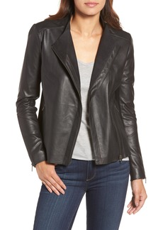 Halogen® Asymmetrical Leather Jacket (Regular & Petite)