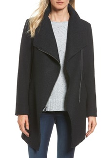 Halogen® Asymmetrical Zip Boiled Wool Blend Coat (Regular & Petite)