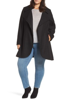 Halogen® Asymmetrical Zip Wool Blend Coat (Plus Size)