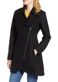 Halogen® Asymmetrical Zip Wool Blend Coat (Regular & Petite)