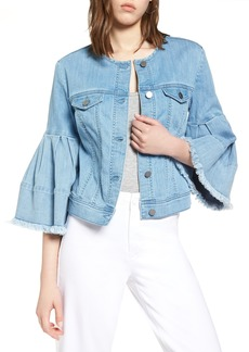Halogen® Bell Sleeve Denim Jacket (Regular & Petite)