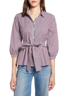 Halogen® Belted Blouson Sleeve Blouse (Regular & Petite)