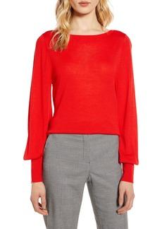 Halogen® Bishop Sleeve Merino Wool Blend Sweater