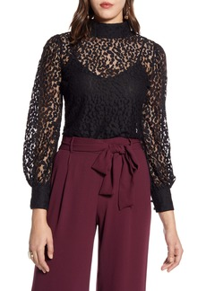 Halogen® Blouson Sleeve Lace Top