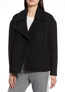 Halogen® Boiled Wool Blend Moto Jacket (Regular & Petite)