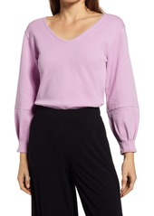 Halogen® Bow Back V-Neck Sweatshirt