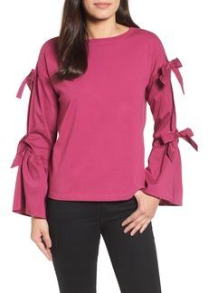 Halogen® Bow Sleeve Poplin Cotton Top (Regular & Petite)