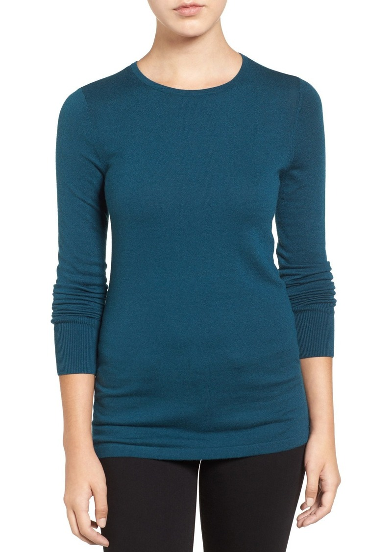 Halogen® Button Back Crewneck Sweater (Regular & Petite)