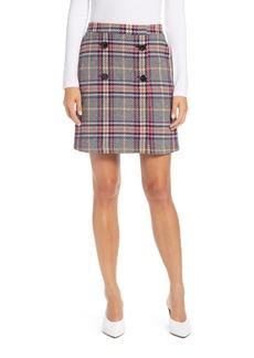 Halogen® Button Detail Plaid Skirt (Regular & Petite)